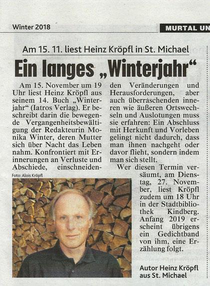Heinz Kröpfl Roman Buchpräsentation Lesung Winterjahr St. Michael Stadtbibliothek Kindberg Iatros Verlag