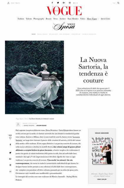 articolo con le immagini del servizio su Vogue Sposa.it
