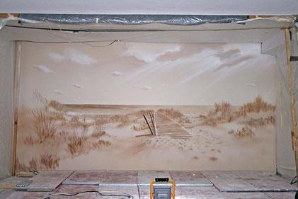 Wandmalerei, Wandbemalung, privater Pool,Sepia Technik, Spa, Meer, nordische Insel, Sylt, Dünenlandschaft,einsamer Strand