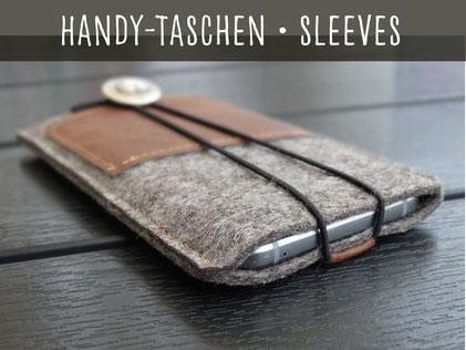 Handytasche Smartphone Tasche Filz Maß Name