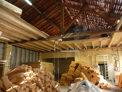 Chantier en cours isolation laine de bois en toiture