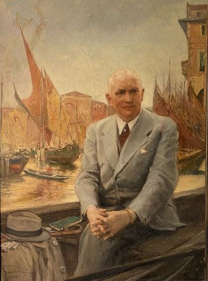 Carl Eduard Niemer (1876-1945) - Gemälde von Fritz Grotemeyer mit einem der Stadt Venedig nachempfundenen Hintergrund