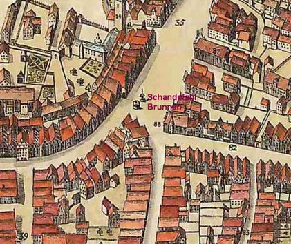Einmündung von Rothenburg und Ludgeristraße in den Prinzipalmarkt mit Brunnen und Pranger