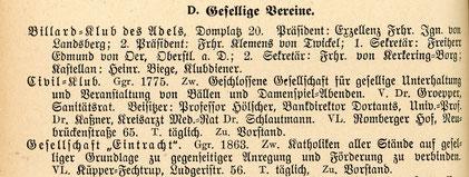 Ausschnitt Adressbuch 1909