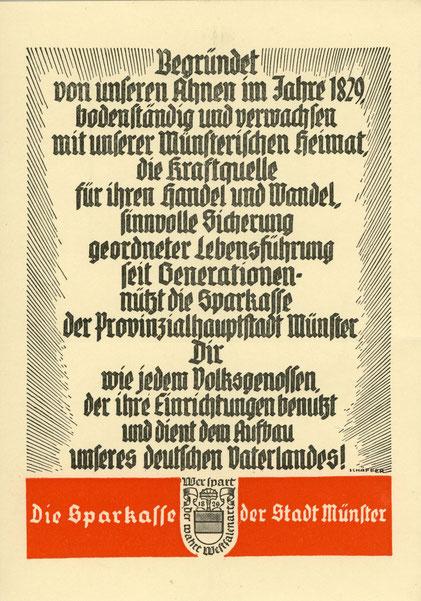 Der Text verrät, aus welcher Zeit die Karte stammt: Mitte/Ende der 1930er Jahre.