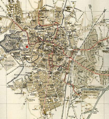Stadtplan 1914 mit Festhalle auf dem Schlossplatz für die Generalversammlung