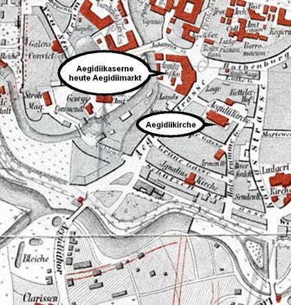 Stadtplan 1864 . Ausschnitt
