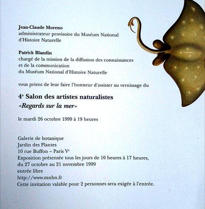 """1999 - 4ème salon des artistes naturalistes """"Regards sur la mer""""    Museum national d'histoire naturelle, Paris - Roman Gorski"""