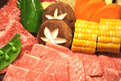和牛A5焼肉の盛り付け例