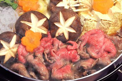 和牛A5すき焼きの調理例