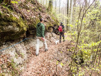 Seilgesicherte Passage am Beginn der Hüttlenwaldschlucht