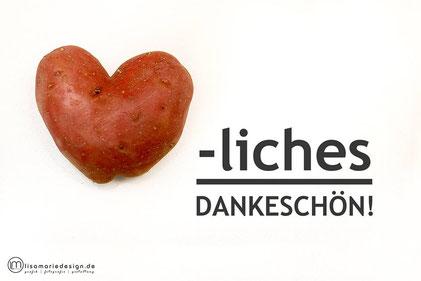 Eine Kartoffel in Herzform als Symbol für die Dankbarkeit,