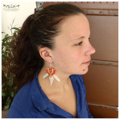 kp kitsch-paradise artisans créateurs boucle d'oreille macramé création tissage micromacramé couleur plume perruche ile-et-vilaine cote darmor volaille plumasserie bretagne