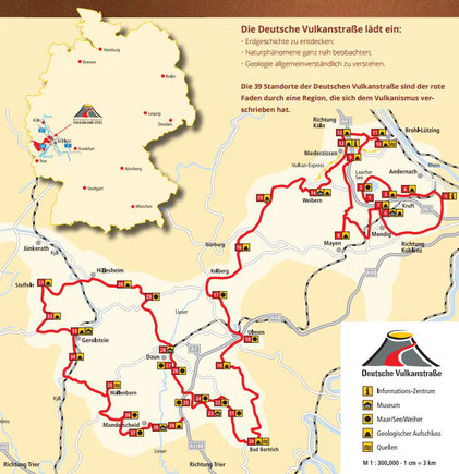 39 Orte der Eifel-Vulkanstrasse, die ca. 280 km lang ist.