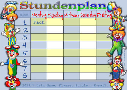 Clown-Stundenplan für Kids - am PC Fächer eintragen.