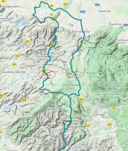 Harztour 21.2.2021 - 110 km -Von Bad Lauterberg bis Goslar und zurück.