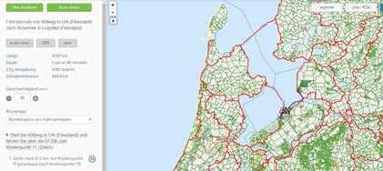 Online-Radroutenplaner Niederlande (Klick an für Vergrößerung)