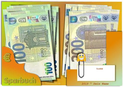 Sparbuch der alten Art - mit neuen Euroscheinen!