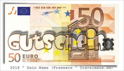 Euroschein mit Gutschein-Aufdruck- am PC ausfüllbar