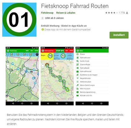 App: Fietsknoop - Radfahren nach Knotenpunkten in NL und angrenzenden Gebieten (Klick an für einen Link)