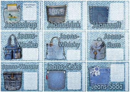 Jeans-Flaschenetiketten - Text am PC ergänzen!