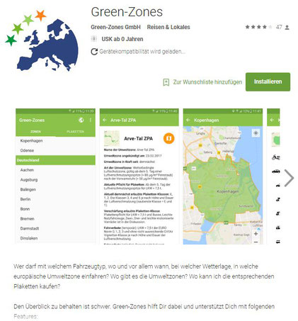 """Link zu einer übersichtlichen App, """"Green Zones"""", die über europaweite Umweltzonen informiert!"""