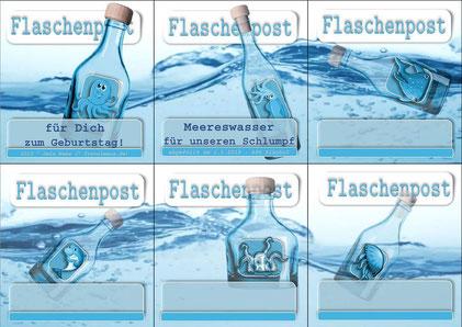 "Flaschenetiketten ""Flaschenpost""- Text am PC ergänzen."