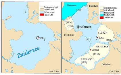 Eindeichung Zuiderzee/Ijsselmeer zwischen ~ 1924 -1975 (klick an zur Vergrößerung)