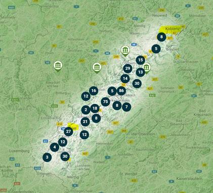 Moseltal - Sehenswürdigkeiten auf einer Karte