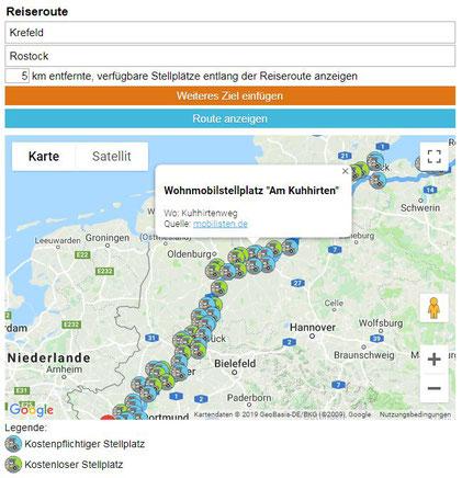 Stellplätze suchen: (Quelle: Mobilisten.de / Strandcamper.de)