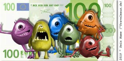Euro - Monster - Spielgeld for Kids - Texte am PC einfügen.