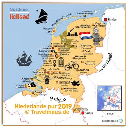Vorbereitung: WoMo-Tour Niederlande 2019 (zum Vergrößern anklickern!)