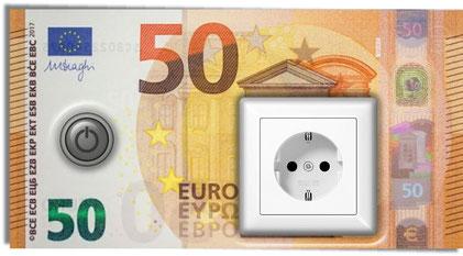 Euroscheine mit Steckdosen