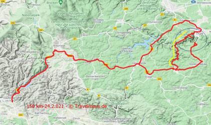24.2.2021: 150 km Tagesstrecke. Fahrt bis zum Hexentanzplatz bei Thale