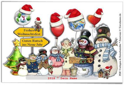 Weihnachtsgruss-Karte - am PC mit eigenem Namen ergänzen.