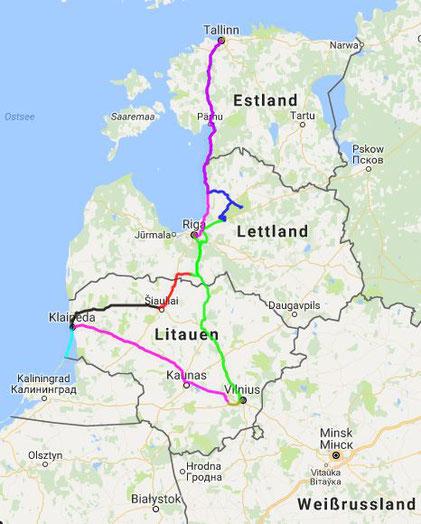 Strecke: 1850 km insgesamt vom 6.-13.4.2017