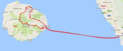 Gesamt incl.Fähre 150 km, auf Gomera 80 km. (8.12.2017 Travelmaus.de)