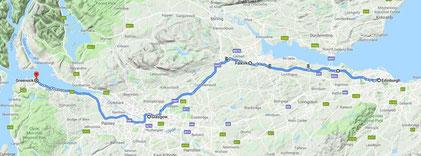 Erste Tagesstrecke Edinburgh - Glasgow - Greenock ca. 200 km (klick an)