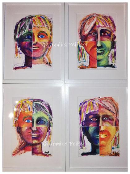 Acryl auf Papier, 4 x DIN A4