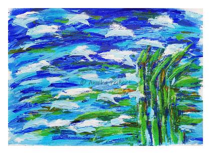 ca. 48 x 65 cm, Acryl auf Tonkarton, Details mit Pastell-Ölkreide und Pastellkreiden