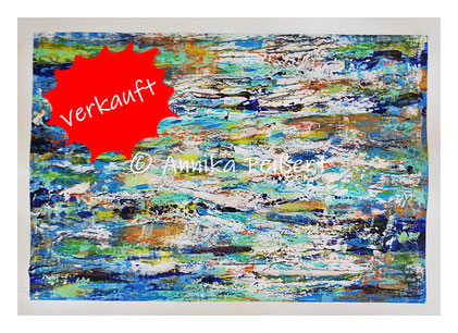 Acryl, Pastellkreide, Gips-Kleberstruktur auf Plakatkarton 48 x 68 cm
