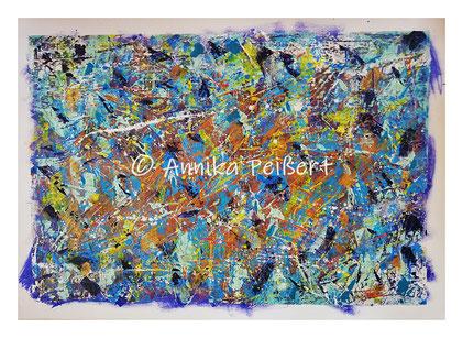 Acryl, Pastellkreide, Gips-Kleberstruktur auf Plakatkarton, 48 x 68 cm