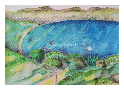 Studie auf 220g Aquarellpapier, DINA4, mit Aquarellfarben, Bleistift, Aquarellstiften und Pastellkreiden