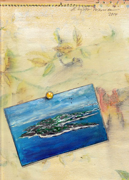 Bild:Postkarte an Wand
