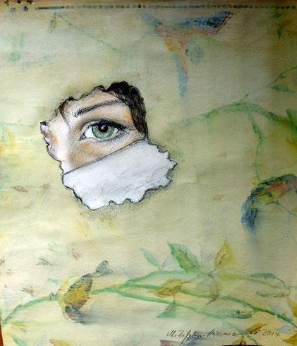 Einblick (vielleicht auch Ausblick?). DIN A4, Zeichnung, Collage auf lasierter Tapete, 2014.