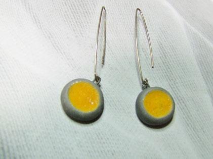 boucles d'oreilles raku jaune rondes