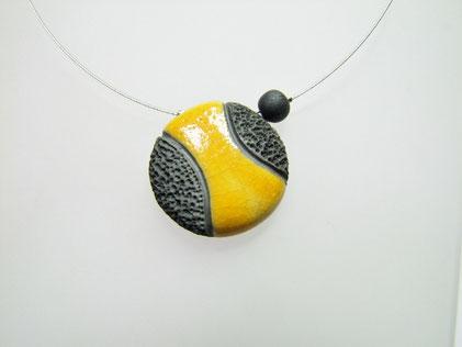 bijou ceramique raku jaune