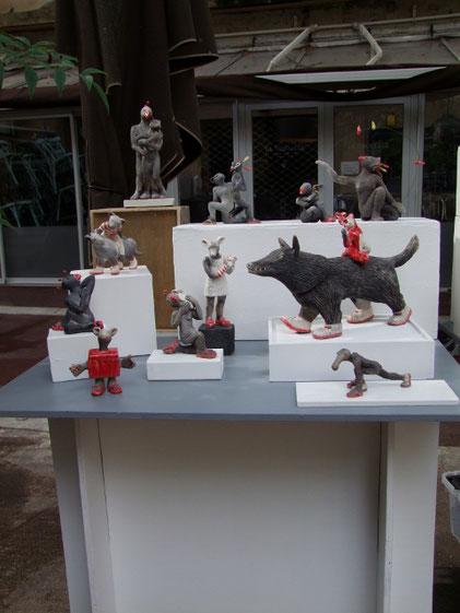 Sculptures de Simplement Terre au clap'art festival de montpellier
