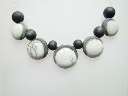 collier céramique raku blanc