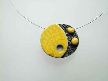 collier perle craquelee ceramique raku